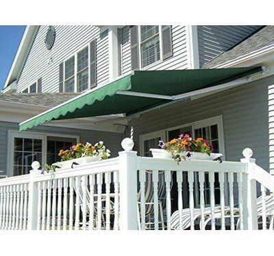 Freeport Park Alvin 12 Ft W X 10 Ft D Retractable Patio Awning Color Green Canopy Outdoor Patio Canopy Deck Awnings