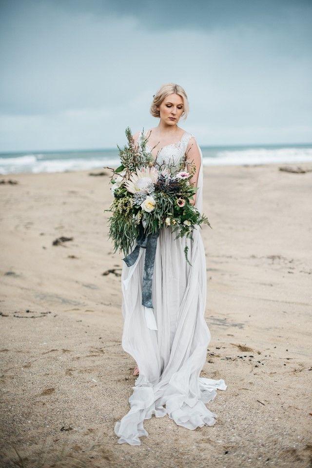 Moody And Romantic Winter Beach Wedding