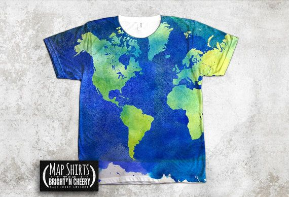 Watercolor World Map T Shirt All Over Print Shirt Art By Mapshirts