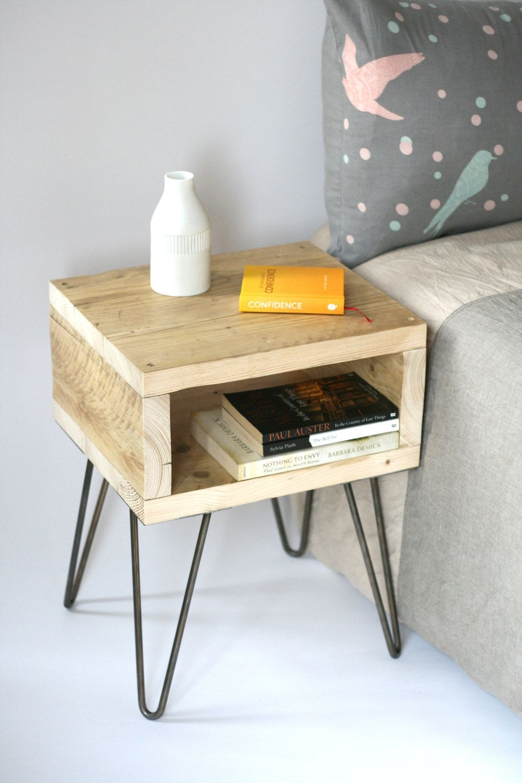 Blondie Bedside Table Reclaimed Wood Side Table Scaffolding Wood