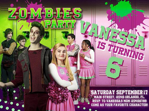 Zombies party invitation Birthday party Disney Zombies