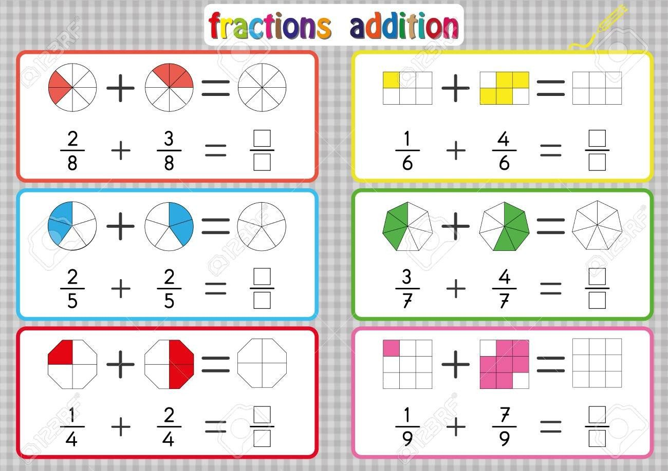Area With Fractions Worksheet Fractions Addition Printable