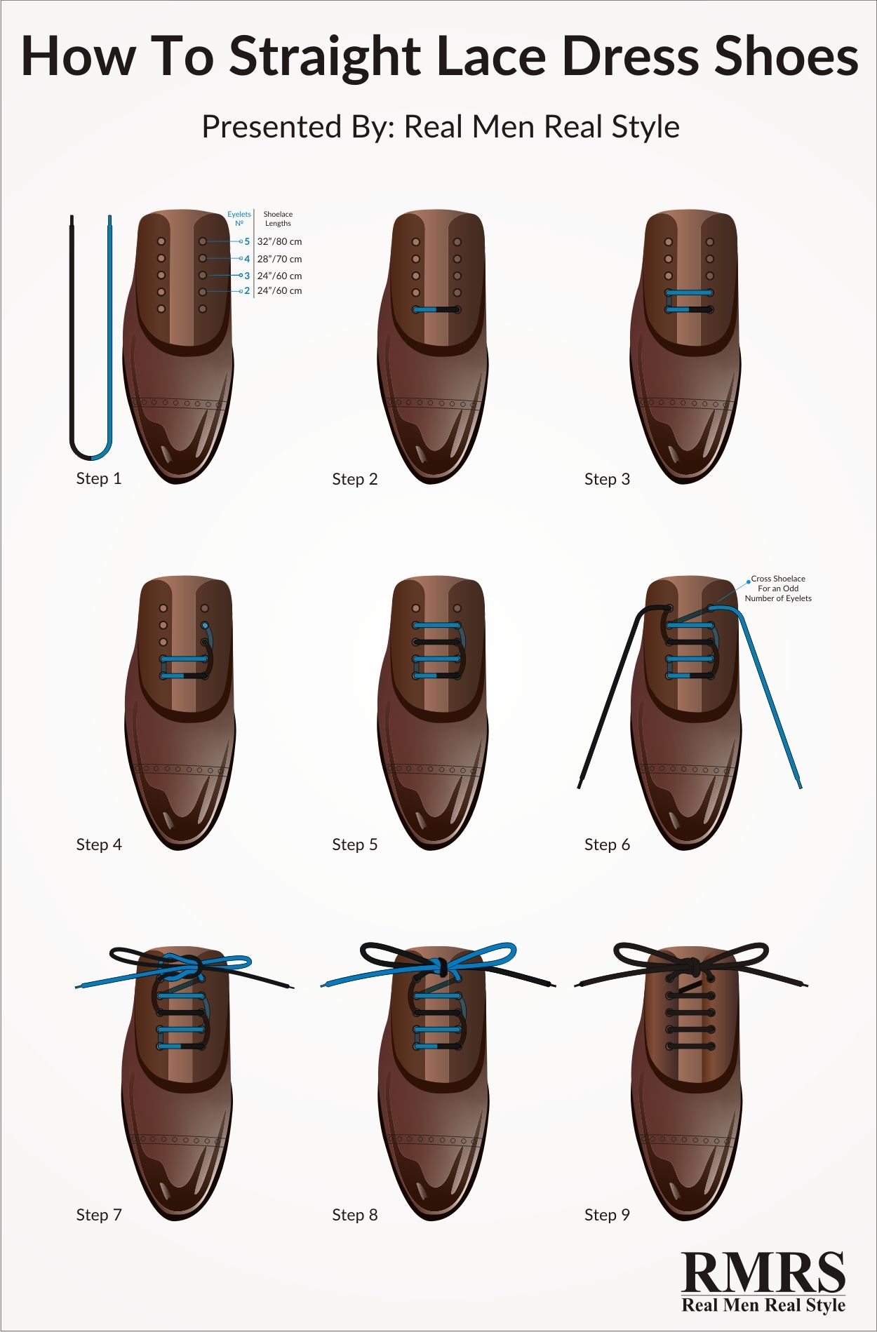 How to straight lace your dress shoes infographic