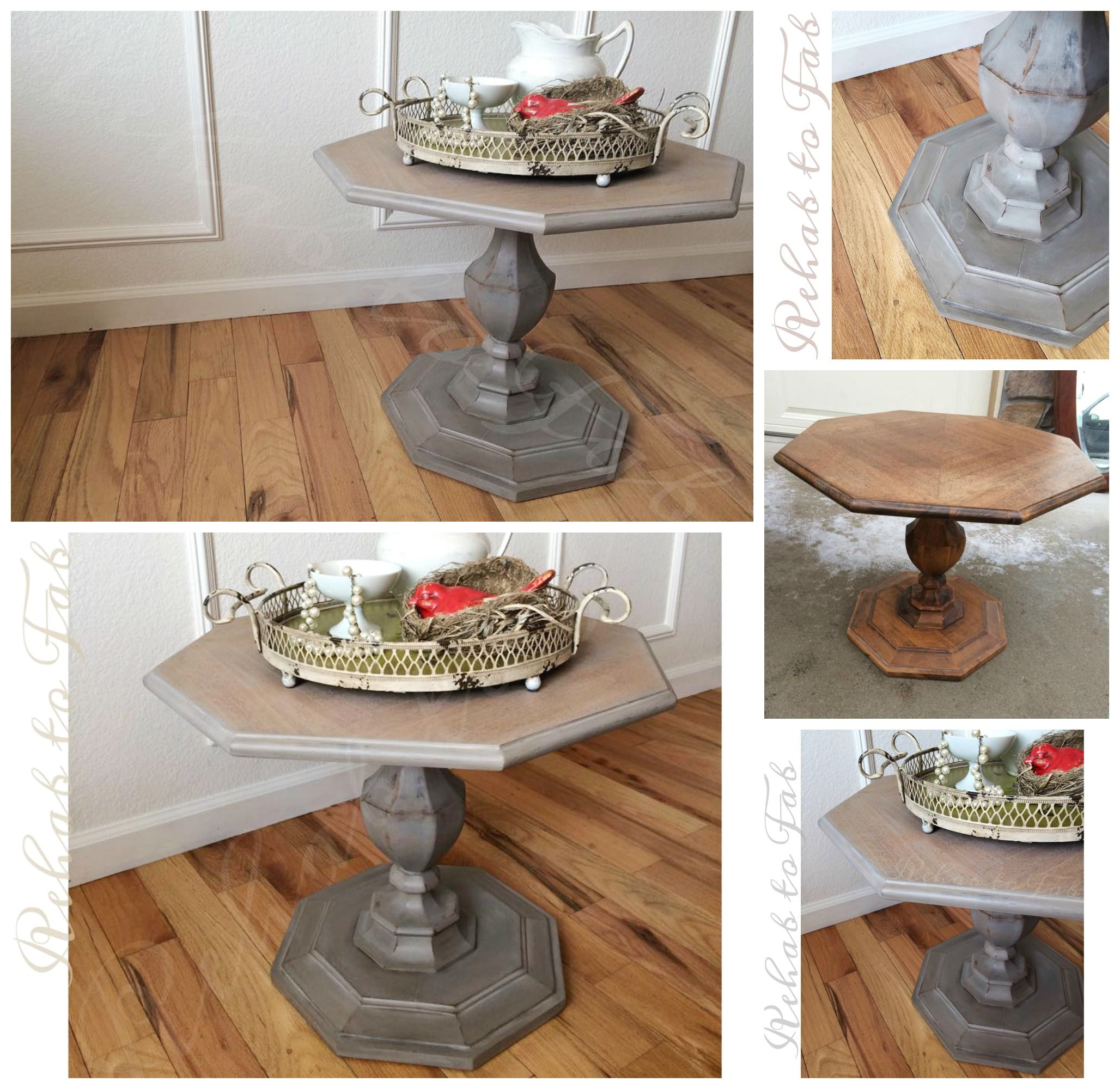 Restoration Hardware Inspired Side Table Done By Rehab To Fab  # Restoration Hardware Muebles
