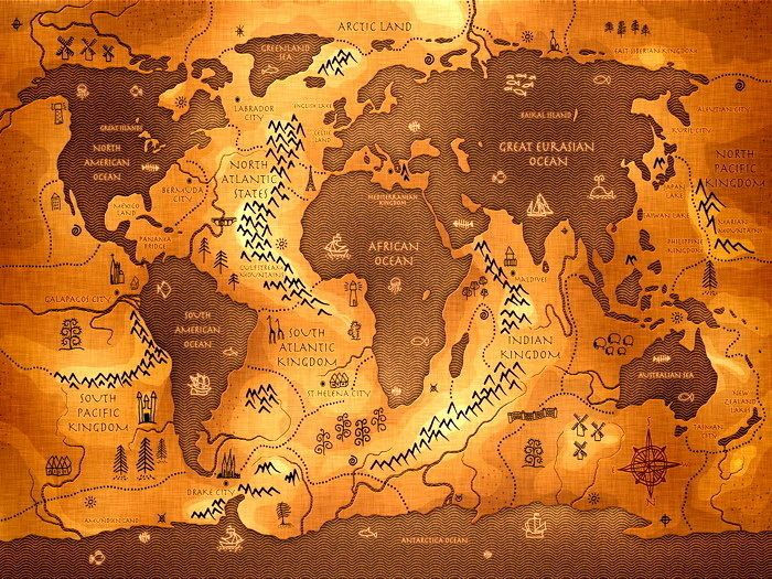 Reversed Map Oceans Continents Science 32x24 Print Poster BRAND NEW - copy world map africa continent