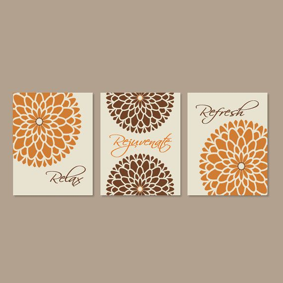 Modern Fl Flower Flourish Artwork Set Of 3 Trio Prints Relax Rejuvenate Refresh Burnt Orange Wall Art Decor Bathroom Bath Home Picture