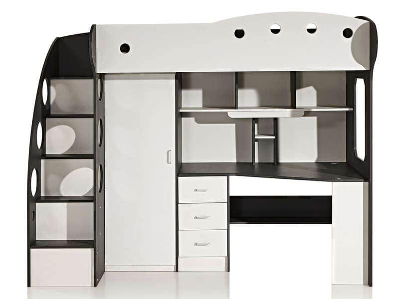 Lit Mezzanine 90x190 Cm Sunny Coloris Blanc Gris Vente De Lit Enfant Conforama En 2020 Lit Mezzanine Lit Mezzanine 90x190 Lit Mezzanine Bureau
