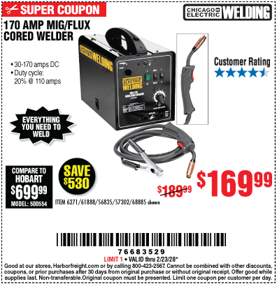 Chicago Electric 170 Amp Dc 240 Volt Mig Flux Cored Welder For 169 99 In 2020 Harbor Freight Tools Electric Welding Flux