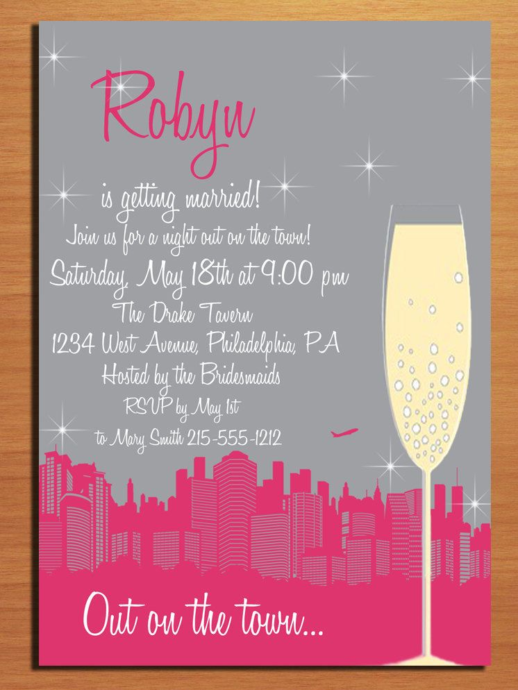 Customized Printable Bachelorette Party Invitations Night Out On The Town DIY It Says Your Name