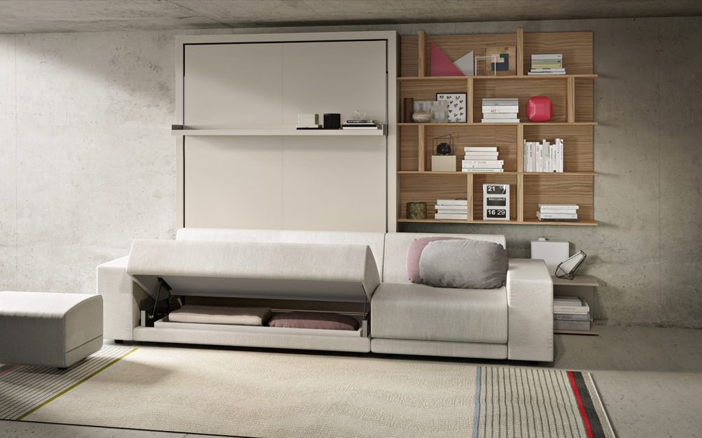 The Oslo 301 Is A Self Standing Queen Size Wall Bed With A Three Seat Sofa That Provides Additional Storage U Resource Furniture Murphy Bed With Sofa Wall Bed