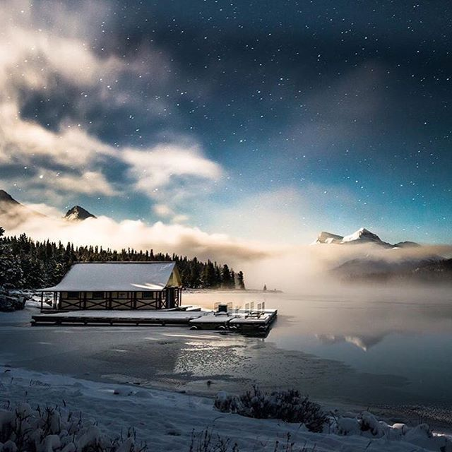 Maligne Lake Boat House. Photo by @stevealkok