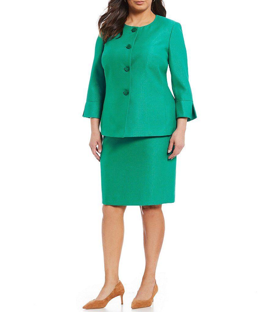 63a64447fd7f0 John Meyer Plus Size Button-Front Long Jacket 2-Piece Skirt Suit ...