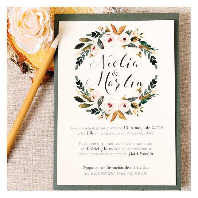 Pin By Anisha On Wedding Invites Simple In 2019: Invitación De Boda Corona Floral In 2019