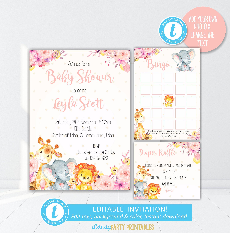 Safari Animals Baby Shower Invitation Kit, Safari Floral Invitation ...