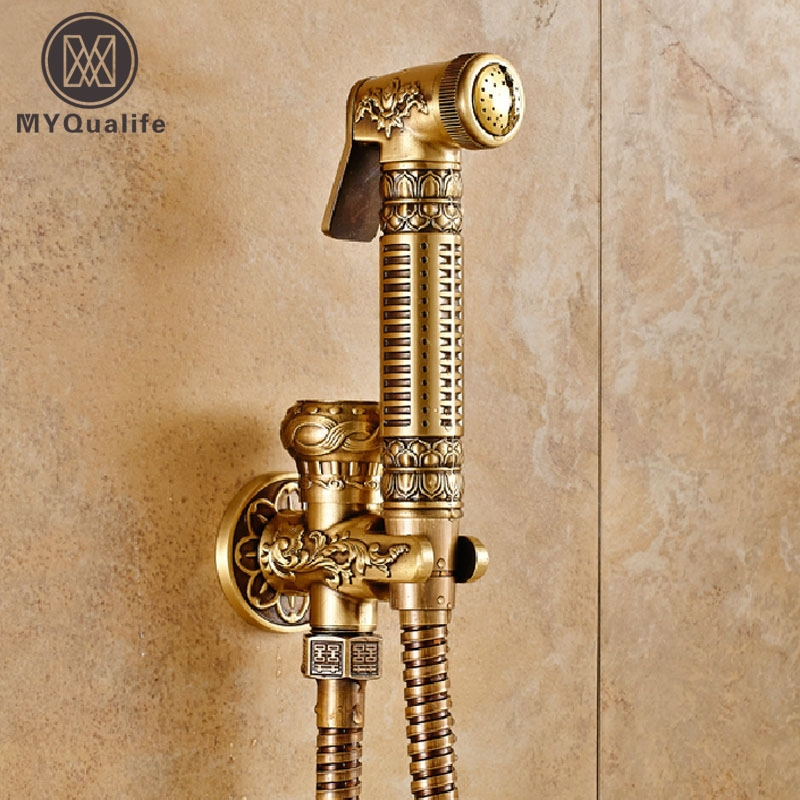 (42.60$)  Buy here  - Top-grade Wall Mounted Brass Toilet Sprayer Tap Antique Single Hole Bathroom Mop Cleaning Faucet Bidet Faucet