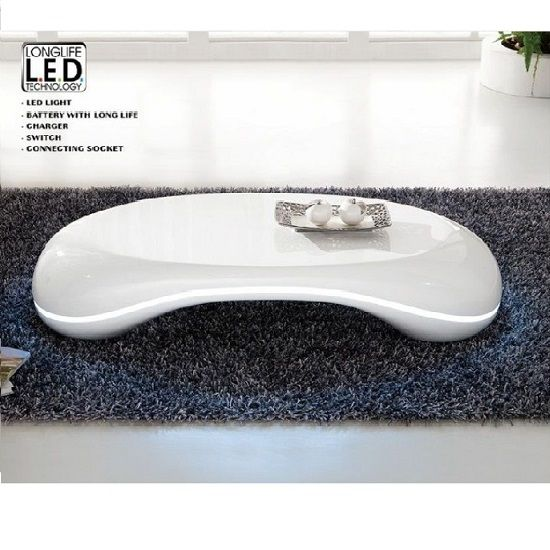 Milania Curved High Gloss Coffee Table In White With Led Lights Coffee Tables Uk Contemporary Glass Coffee Tables Unusual Coffee Tables