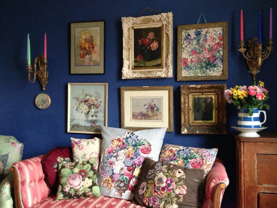 Gallery Wall And Crewel Pillows Shabbychic Vintage Inspired