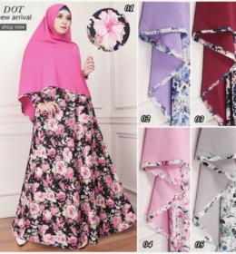 Model Baju Gamis Syari Misby Motif Bunga G1105 Cantik Edisi November