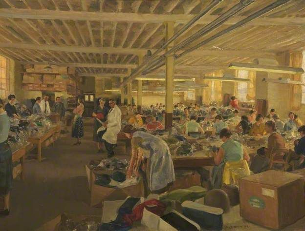 Browning, Amy, (1881-1978), Hatting Factory Workers, Oil