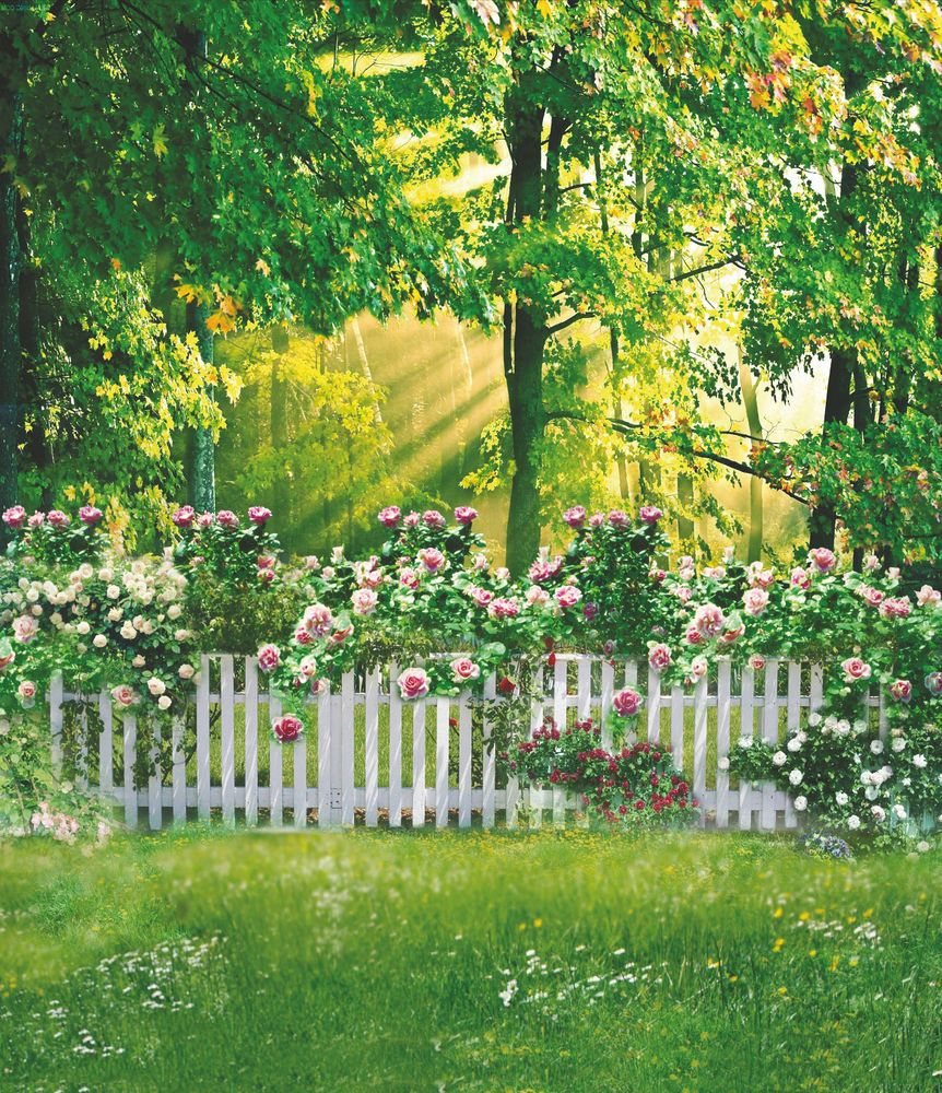 Thin Vinyl Garden Flowers Trees Backdrop Kids Photography