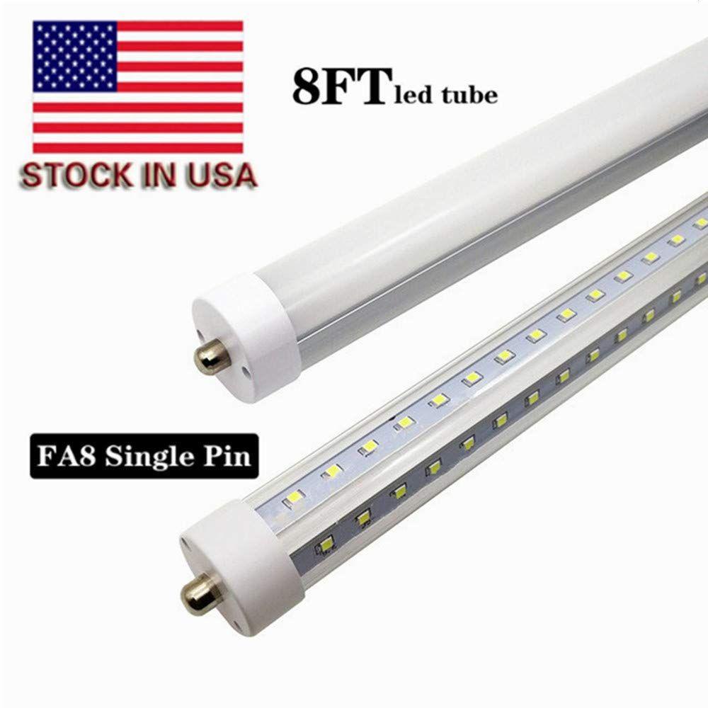 T8 T10 T12 8ft Led Shop Light 8ft Single Pin Fa8 Base 65w 7500lm 6000k Cool White 8 Foot Double Side V Shape Led F Led Tubes Led Tube Light Led Shop Lights