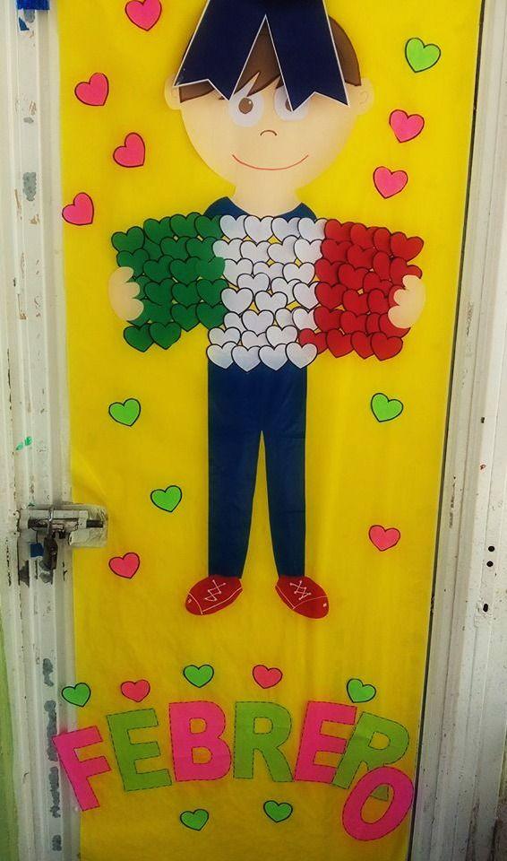 Puerta decorada del mes de febrero puertas decoradas for Decoracion de puertas escolares