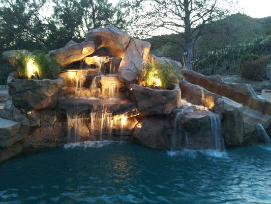 Rock Waterfalls With Slide Added To Swimming Pool Yelp Pool