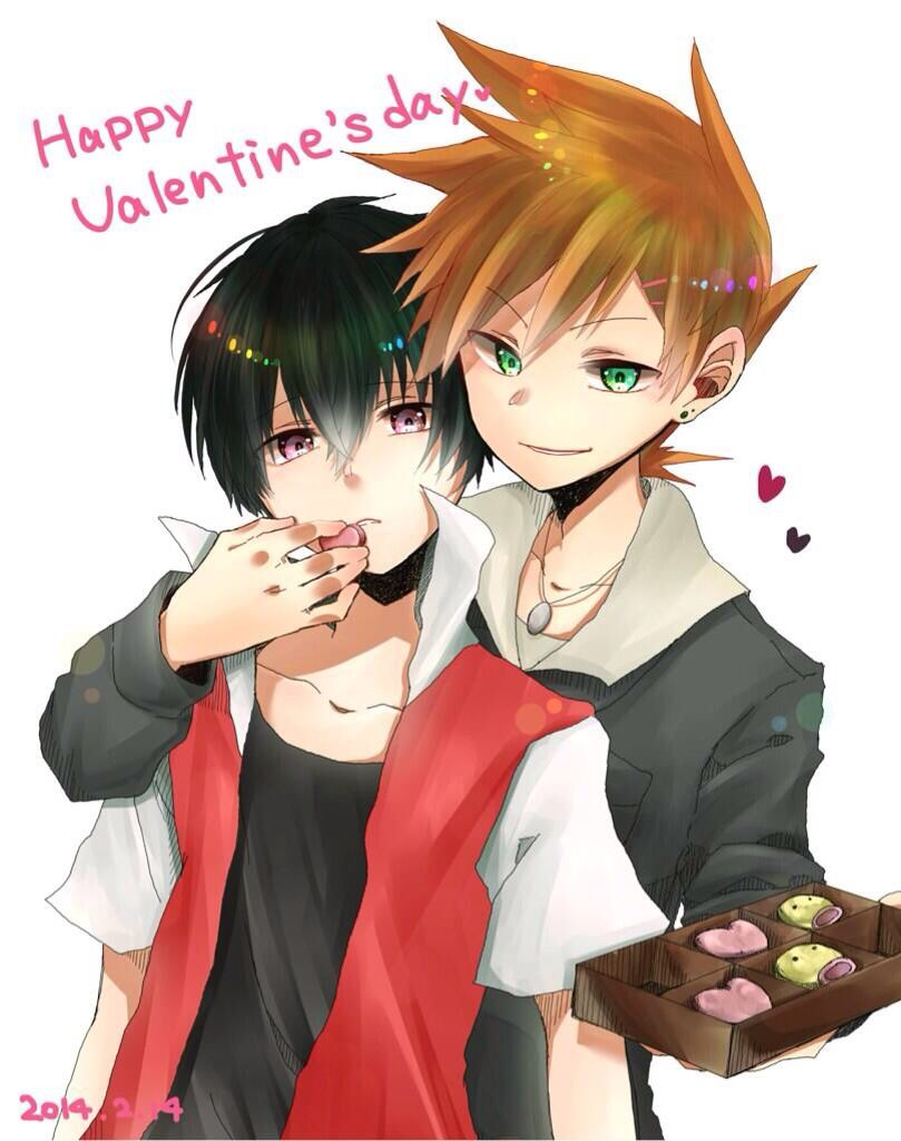 Green feeding Red chocolate for Valentines Day