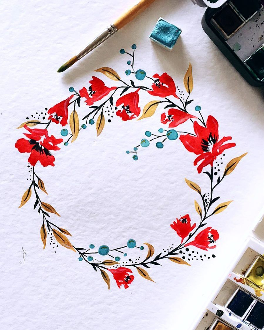 589 Likes 26 Comments Simela Petridis Pizzlepaints On Instagram Today 39 S Colour Combo And Flor Watercolor Paintings Wreath Watercolor Flower Drawing