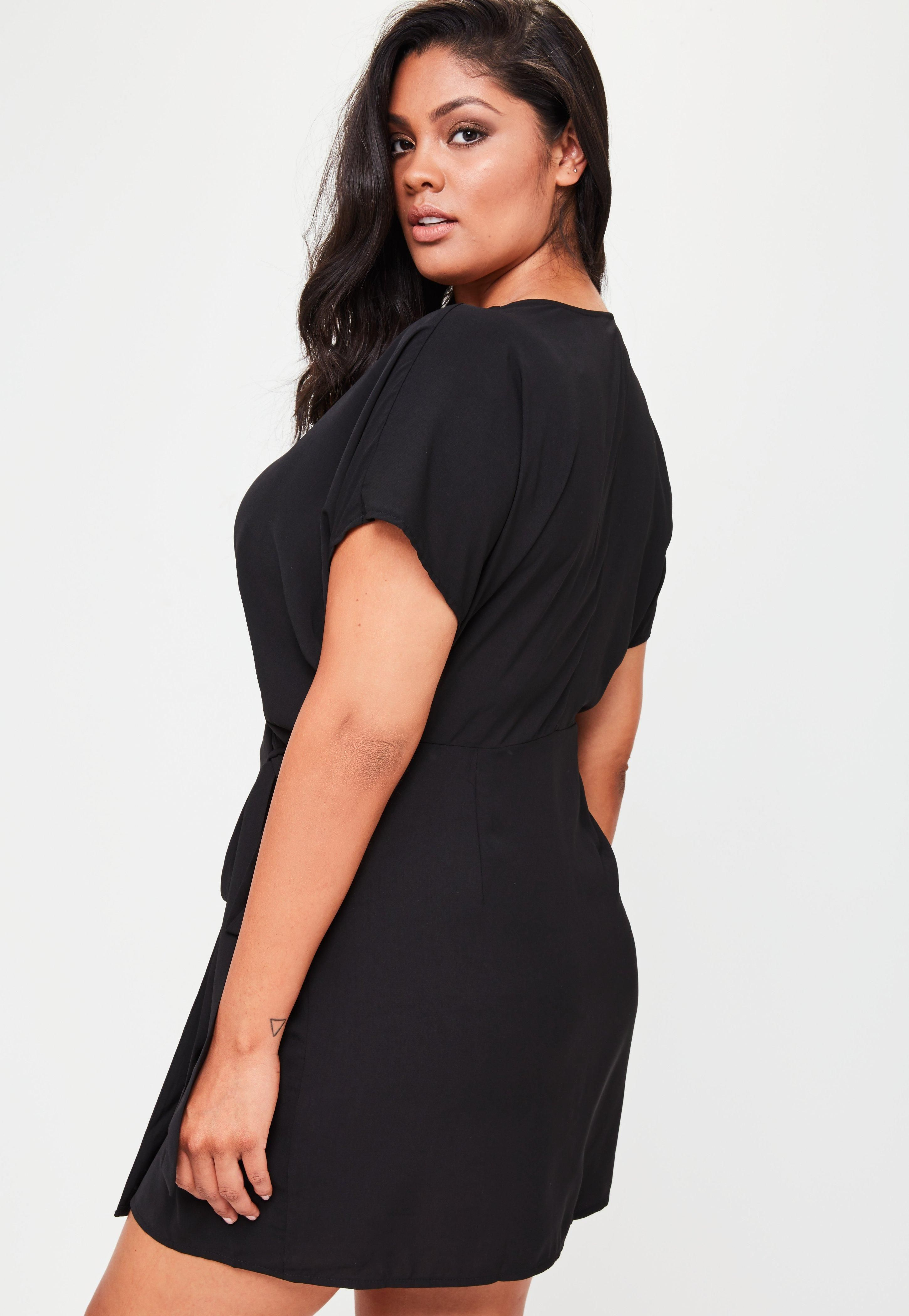 b31cf0b4df Plus Size Black Kimono Sleeve Wrap Dress in 2019   Clothes   High ...
