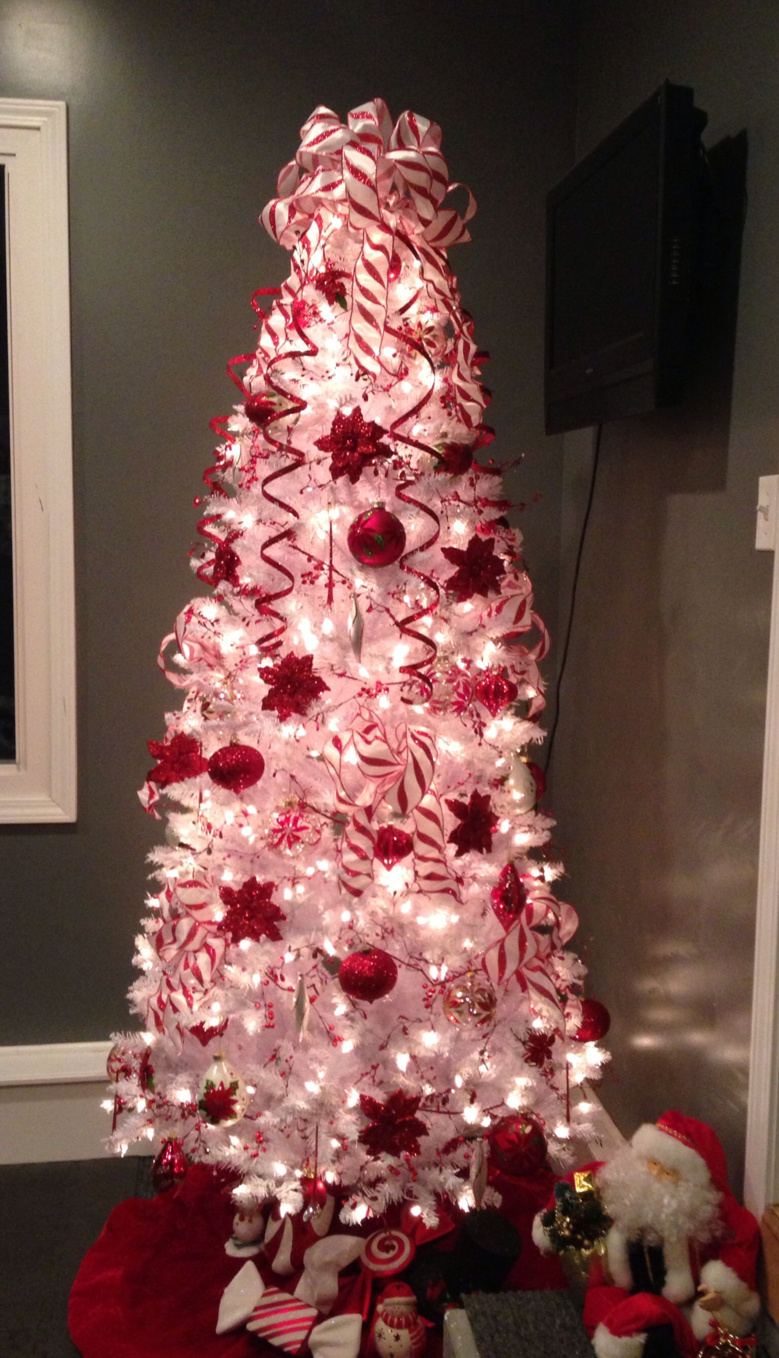 Poinsettia And Candy Cane Christmas Tree White Christmas Trees Peppermint Christmas White Xmas Tree