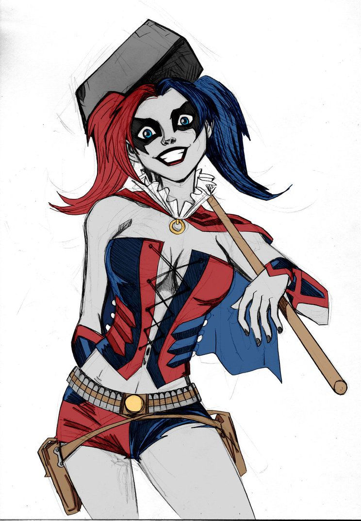 Harley Quinn Sketch Colored by Kenkira by ~LucianoVecchio on deviantART