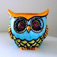 Owl Decor Ceramic Planter Painted Folk Art Woodland By Sewzinski