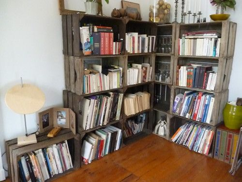 une bibliotheque sur mesure les caisses pommes home sweet home pinterest bibliotheque. Black Bedroom Furniture Sets. Home Design Ideas