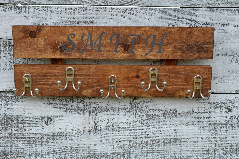 Rustic Wood Wall Coat Rack, Entryway Storage Distressed Coat Hook Rack, 5  Hooks,