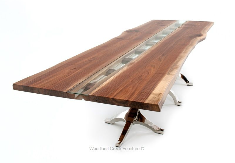 Walnut Live Edge Table With Inlaid Glass Unique Dining Tables Live Edge Walnut Dining Table Walnut Dining Table