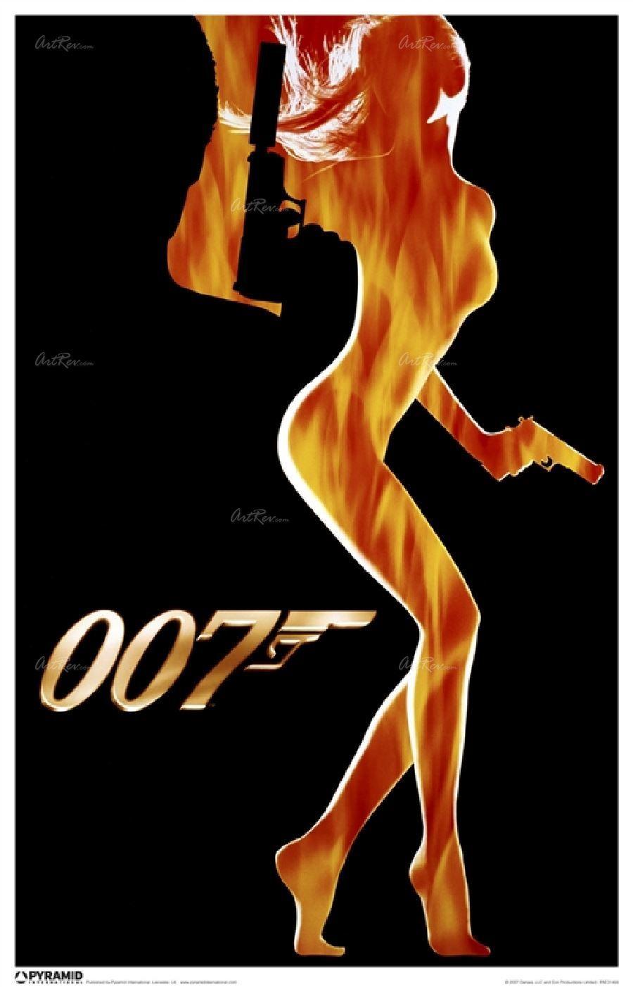 James Bond Flame Girl By Independent Artist Independent Artist