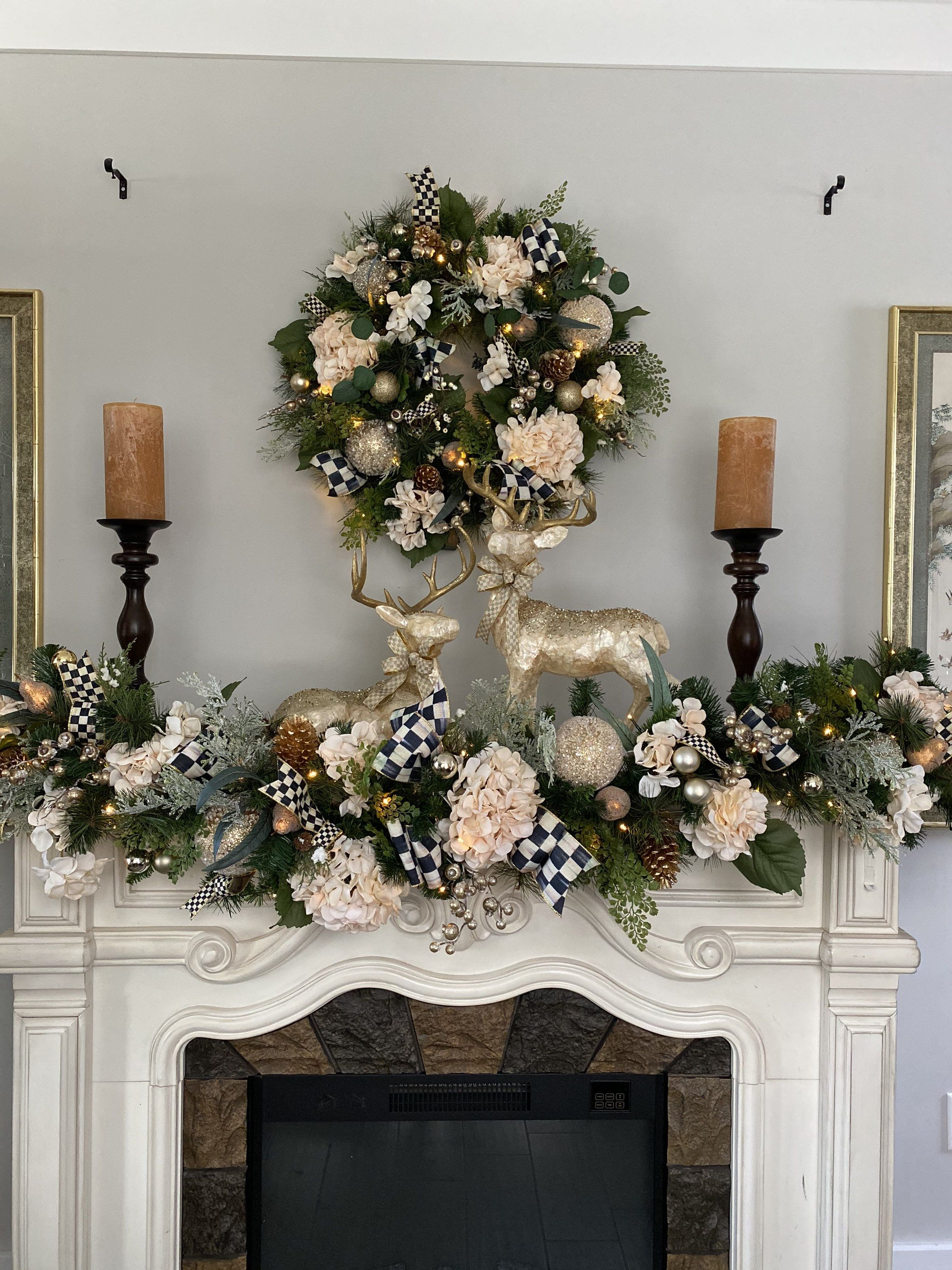2 pc set Christmas Wreath and Garland, Pre-Lit, Co