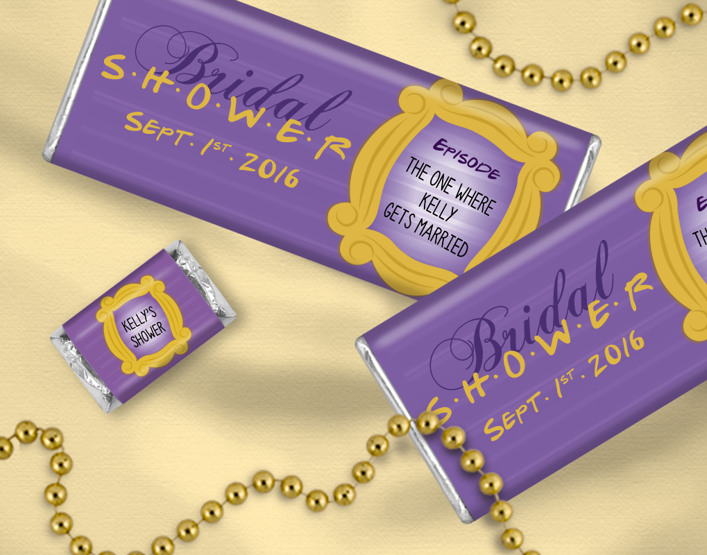friends themed bridal shower ideas personalized chocolate bars for candy buffets for wedding showers