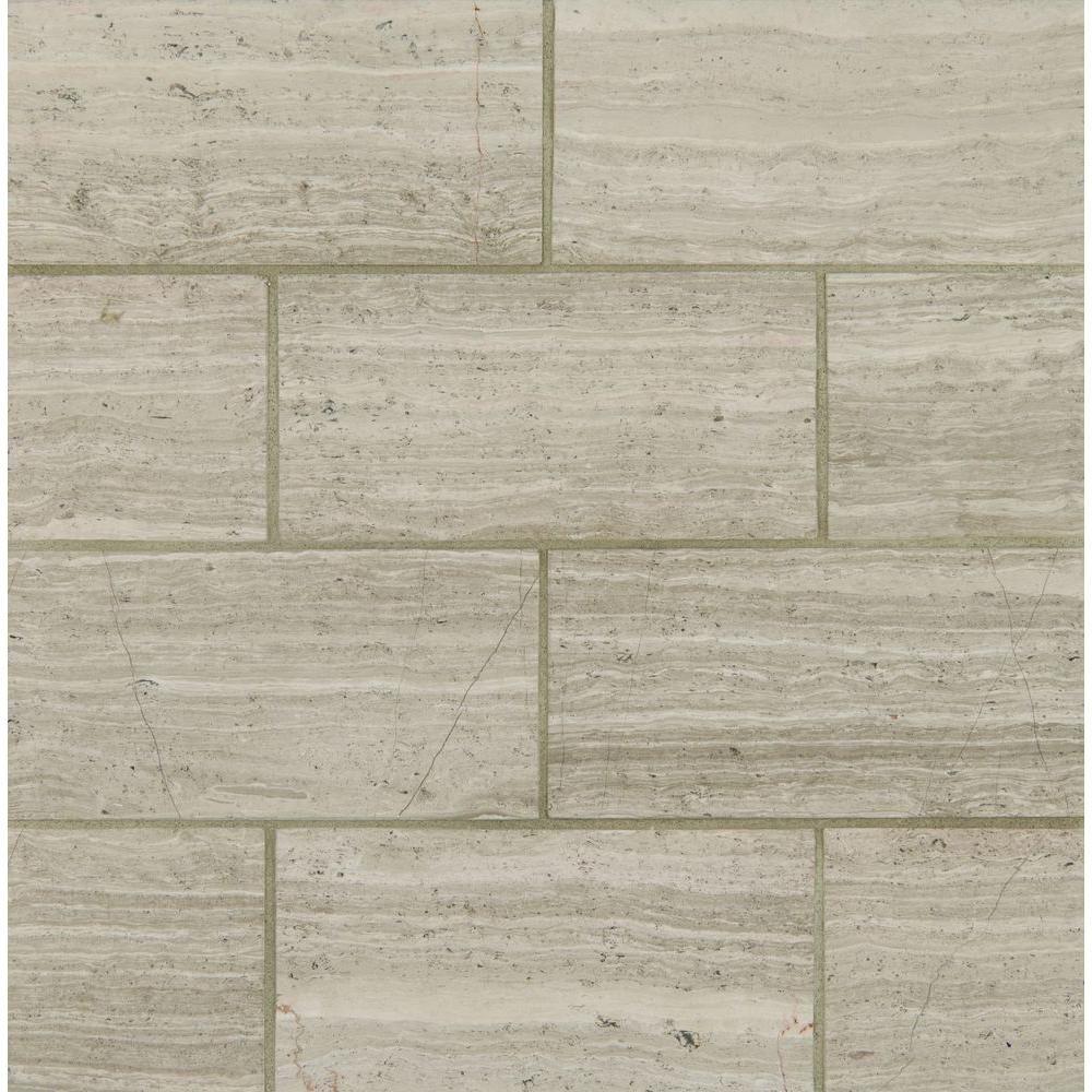 MSI White Oak 12 in. x 24 in. Polished Limestone Floor and Wall Tile ...