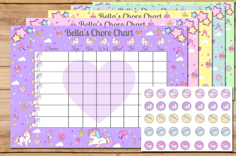 Unicorn Chore Chart Chore Chart Reward Chart Chore
