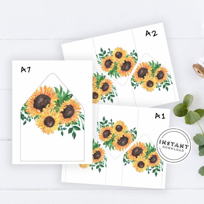 Sunflower Envelope Liner Printable Template Euro Envelope Etsy Envelope Liner Printable Envelope Liners Wedding Floral Wedding Envelopes