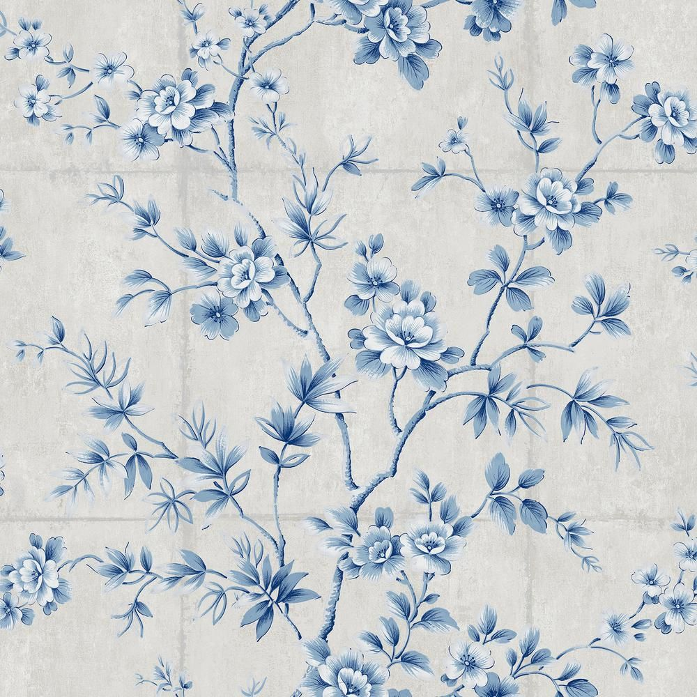 Seabrook Designs Great Wall Metallic Silver And Sky Blue Floral