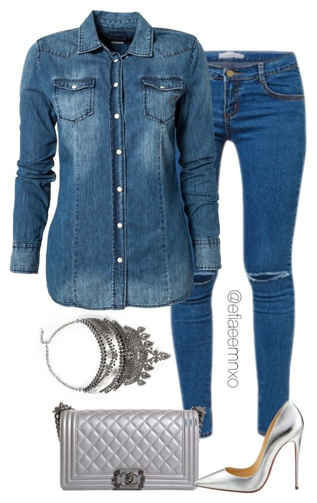 """""""Denim x Silver"""" by efiaeemnxo ❤ liked on Polyvore featuring Jagger, Kori, Replay, Chanel and Christian Louboutin"""