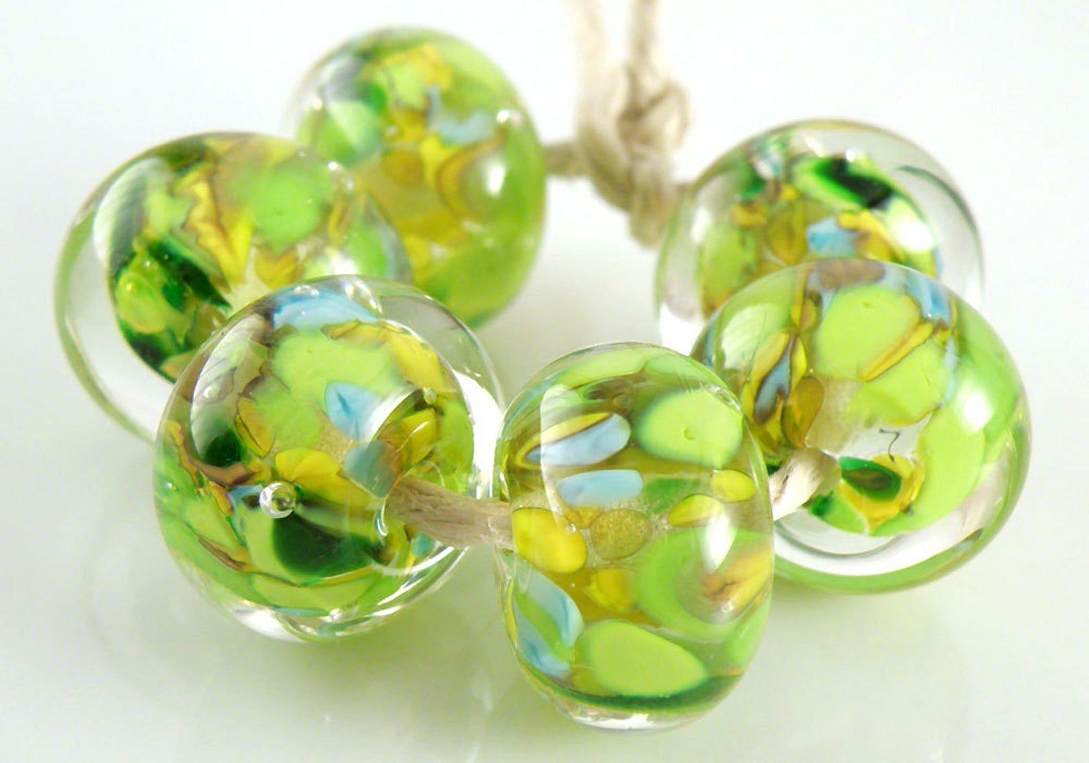 Lampwork Glass Beads jewelry supplies jewelry supplies Gold and black crystal lampwork beads sra artisan beads set of 6