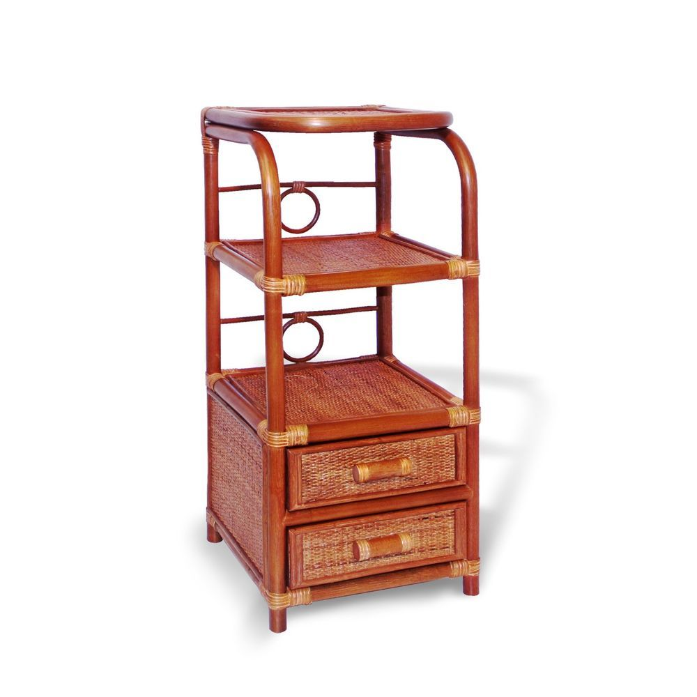 Avery Handmade Rattan Wicker Accent End Phone Night Table with 2 Drawers  #HandmadeRattanFurniture #Tropical