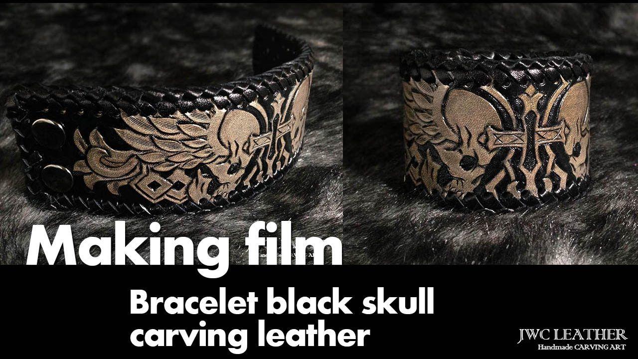 Making Biker bracelet skull design leather carving 가죽팔찌 가죽카빙 - YouTube