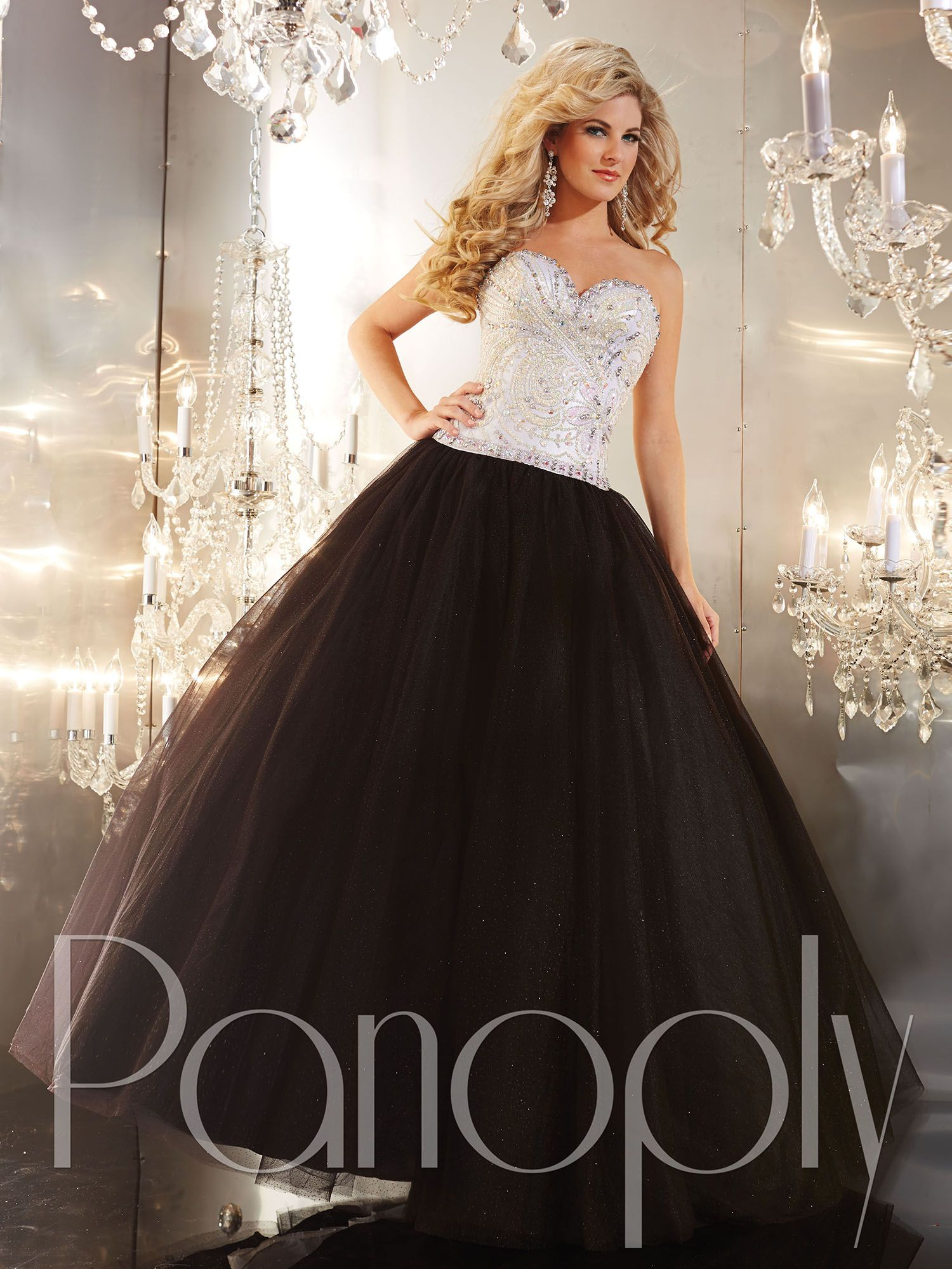 Panoply style strapless sweetheart neckline heavily sequined