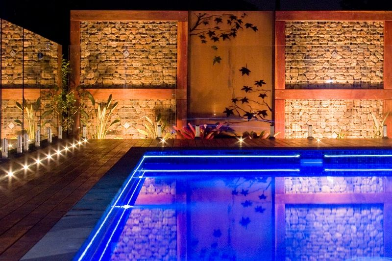 Liquid Amber Rusted Wall Art Feature By The Pool
