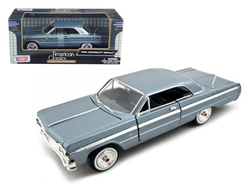 1964 chevrolet impala blue 1 24 diecast model car by. Black Bedroom Furniture Sets. Home Design Ideas